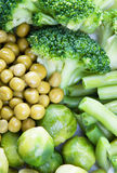 Fresh vegetables. Broccoli, corn and pea Royalty Free Stock Images