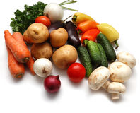 Fresh vegetables. Carrot, potatoes, onion, pepper, tomatoes, cucumbers, mushrooms Stock Photo
