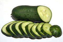 Fresh vegetables. Slices of cucumber Stock Images