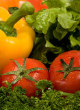 Fresh vegetables. Composing of red tomatoes and yellow pepper on verdure background Stock Photos
