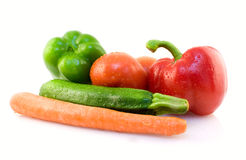 Fresh vegetables. Wet fresh vegetables on white background Stock Photo