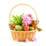 Fresh Vegetables And Flowers Stock Photos