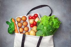 Free Fresh Vegetables And Fruits In Natural Eco Friendly Cotton Bags Top View. Zero Waste Food Shopping And Plastic Free Concept Royalty Free Stock Image - 150021396