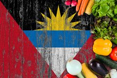 Fresh vegetables from Antigua and Barbuda on table. Cooking concept on wooden flag background.  royalty free stock photography