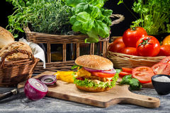 Fresh vegetables as ingredients for homemade hamburger Royalty Free Stock Photos