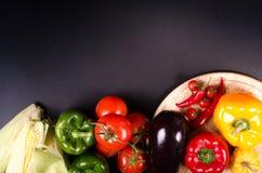 Fresh vegetables, autumn background. Healthy eating frame. Stock Photos