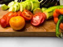 fresh vegetables background as eggplant, tomatoe, zucchini, bell pepperб ratatouille stock image