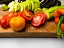 fresh vegetables background as eggplant, tomatoe, zucchini, bell pepperб ratatouille stock image