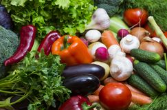 Fresh vegetables background close-up. Of tomatoes, cucumbers, onions, mushrooms Royalty Free Stock Image