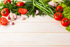 Fresh vegetables background, place for text Royalty Free Stock Image