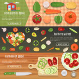 Fresh Vegetables Banners Set Royalty Free Stock Photo