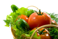 Fresh vegetables in a basket royalty free stock photography