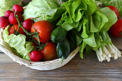 Fresh vegetables in a basket Royalty Free Stock Photo