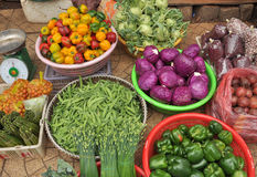 Fresh vegetables in the basket.  Vietnam Stock Image
