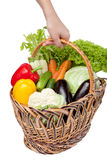 Fresh vegetables in a basket on white. A lot of fresh, different vegetables in the basket Royalty Free Stock Photos