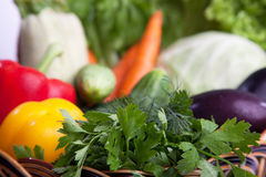 Fresh vegetables in a basket on white. A lot of fresh, different vegetables in the basket stock photos