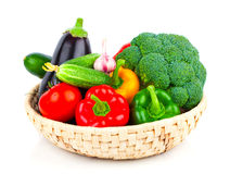 Fresh vegetables in basket Stock Photos