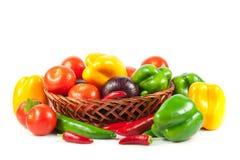 Fresh vegetables in basket  on white. Bio Vegetable.  Co Stock Image