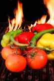Fresh vegetables on BBQ Grill Stock Image