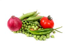 Fresh vegetables. Beautiful shot of fresh vegetables on white background Stock Photos