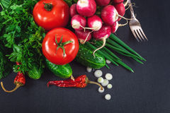 Fresh vegetables on a black background Royalty Free Stock Photo