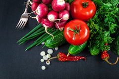 Fresh vegetables on a black background Royalty Free Stock Photography