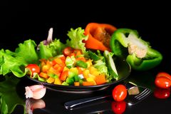 Fresh vegetables on a black background with reflection Royalty Free Stock Photos