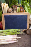 Fresh vegetables with blank slate Royalty Free Stock Photo