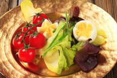 Fresh vegetables and boiled eggs Stock Photo