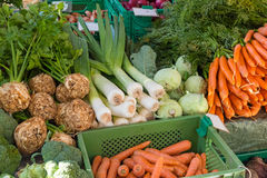 Fresh vegetables in boxes for sale. At a market Royalty Free Stock Photography