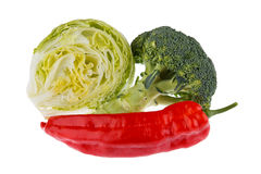 Fresh vegetables broccoli, lettuce and pepper. Isolated on white background Royalty Free Stock Image