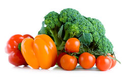 Fresh vegetables, broccoli, pepper and tomatoes Stock Photography