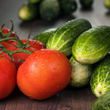 Fresh vegetables on brown wooden table Stock Image