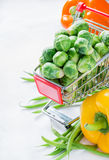 Fresh vegetables. Brussel sprouts, bell peppers and corn Royalty Free Stock Image