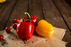 Fresh vegetables, bulgarian pepper, cherry tomatoes and spices Stock Photo