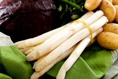 Fresh vegetables, bunch of white asparagus royalty free stock images