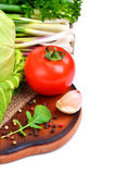 Fresh vegetables, cabage, tomatoes, cucumber, green onion, parsl Stock Images