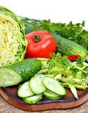 Fresh vegetables, cabage, tomatoes, cucumber, green onion, parsl Stock Photography
