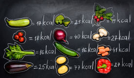 Fresh vegetables and calories table isolated on black Stock Photos