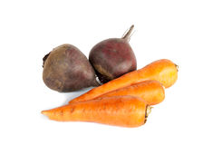 Fresh vegetables carrots, beetroots isolated on white Royalty Free Stock Image