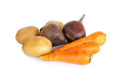 Fresh vegetables carrots, beetroots and potatoes  Stock Photography