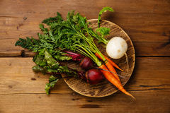 Fresh vegetables carrots, turnip and beets stock images