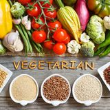 Fresh vegetables and cereals with word Vegetarian Royalty Free Stock Photos