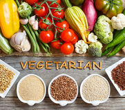 Fresh vegetables and cereals with word Vegetarian Stock Photo