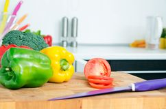 Fresh vegetables on a chopping board Stock Image