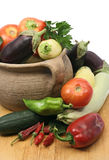 Fresh vegetables in clay pot Stock Photo