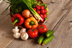 Fresh vegetables on a clean wooden table Stock Image
