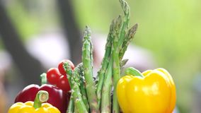 Fresh vegetables close up. Bell peppers, asparagus and tomatoes stock footage