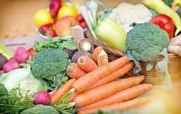 Fresh  vegetables - closeup. Fresh  vegetables in wicker basket on table Stock Image