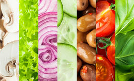 Fresh vegetables collage background. With vertical bands containing sliced mushrooms, lettuce, onion, cucumber, olives, tomato and basil or baby spinach leaves royalty free stock images